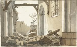 Ingestorte toren van de kerk te 's-Gravenzande (Nicolaes Lodewick Penning, 1809, Rijksmuseum)